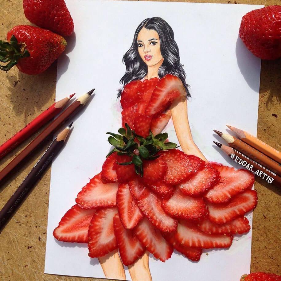 γυναικεία ζωγραφιά από φαγητό