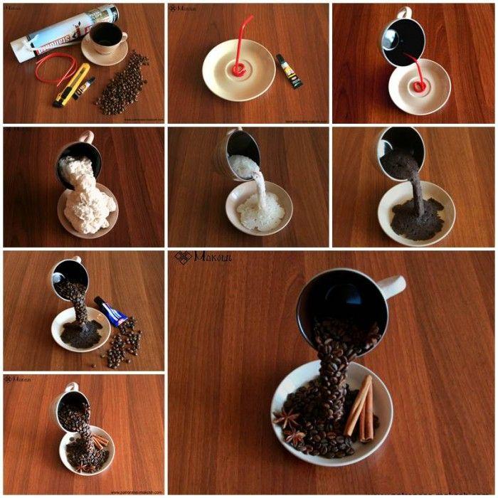 φλιτζάνι με κόκους καφέ στον αέρα