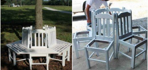DIY καναπές - παγκάκι από παλιές καρέκλες